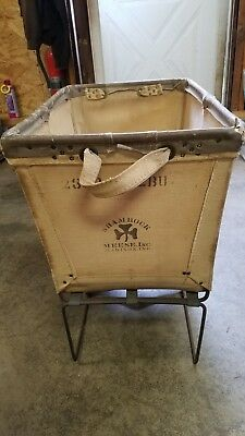 Vintage Large Dandux Canvas & Metal Industrial Laundry Basket/Cart/Hamper