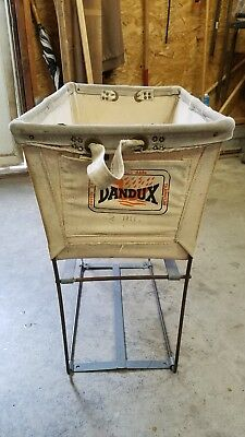 Vintage Dandux Canvas & Metal Industrial Laundry Basket/Cart/Hamper