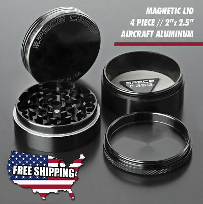 Space Case   Authentic - Black Titanium - 4 Piece Herb Grinder - Free Ship