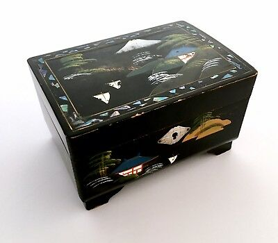 Vintage Japanese Jewellery Musical Box Hand Painted Laquer With Mother-Of-Pearl