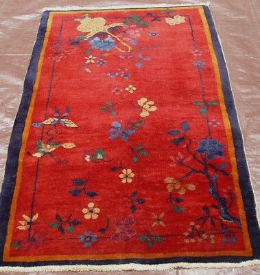 3 x 4.7 ANTIQUE 1920 ART DECO CHINESE HAND-KNOTTED WOOL RED ORIENTAL RUG 3 x 5