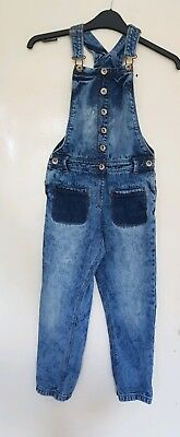 Girls Dungarees Blue By Next Age 8/excellent condition