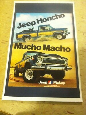 Vintage 1977 Jeep Honcho Truck  Advertisement Poster Home Decor Man Cave Gift