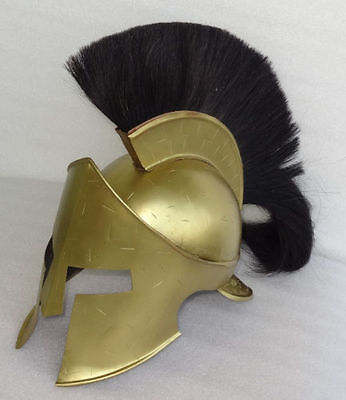 Medieval King Leonidas Helmet Roman Brass Spartan 300 Movie Helmet W/ Black Plum