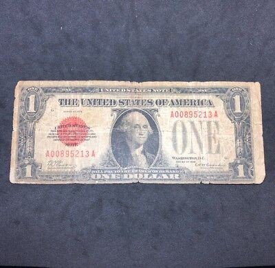 """1928 $1 One Dollar """"funnyback"""" Red Seal United States Note """"puerto Rico Issue"""""""