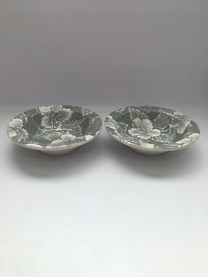 Rare Vintage Wallace China Restaurant Ware Soup Cereal Bowls Gray Hibiscus