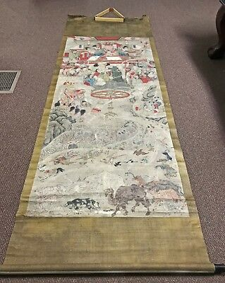 Massive Antique Chinese Tibetan Scroll Painting With Figures And Animals