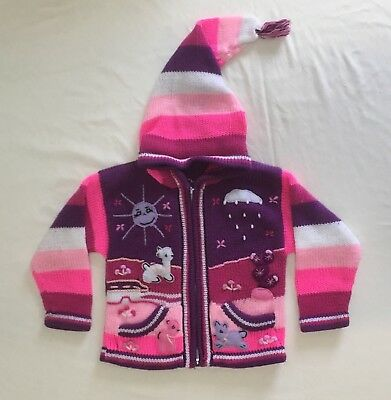 Hand Knit Zip Hooded Sweater ~ Girls Size 3T ~ Adorable!