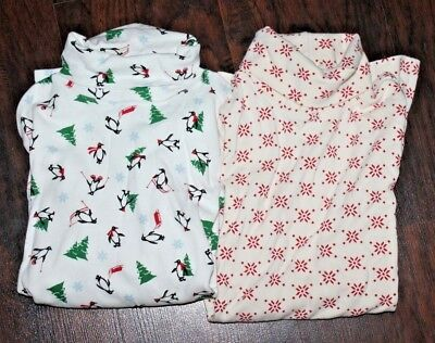 Vintage Christmas Turtleneck LOT of 2 Womens Small Penguin Holiday Shirt Top