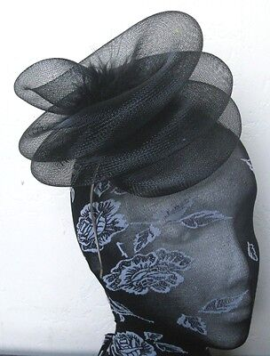 black feather fascinator millinery burlesque headband wedding hat hair piece 1
