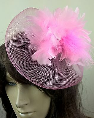 baby pink feather fascinator millinery burlesque wedding hat bridal race ascot 1