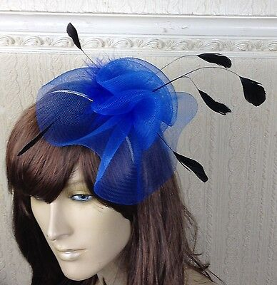 blue black feather hair headband fascinator millinery wedding hat ascot race 1