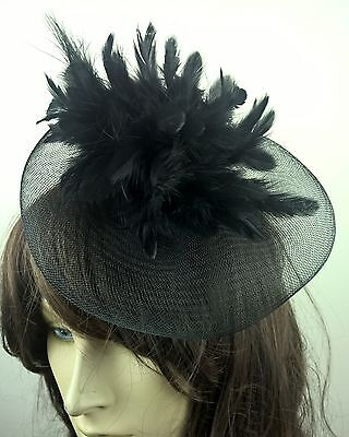 black feather fascinator millinery burlesque wedding hat bridal race ascot 1