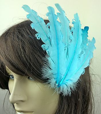 blue feather fascinator millinery hair clip wedding piece ascot race dance 1