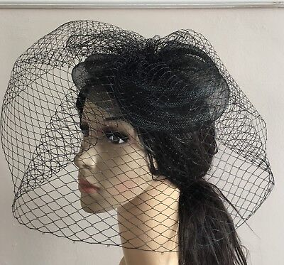 black french veil veiling fascinator wedding bridal hair clip hat race ascot