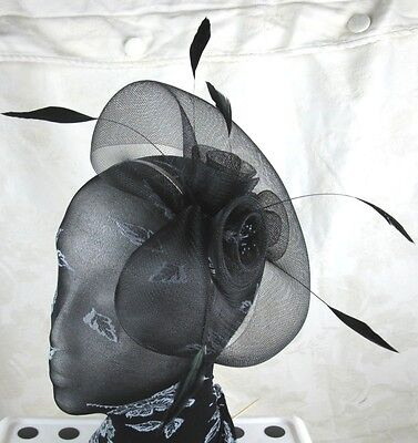 black feather headband fascinator millinery wedding ascot hat hair piece x