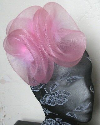 baby pink feather fascinator millinery burlesque headband wedding hat hair