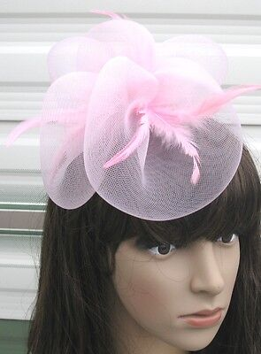 baby pink fascinator millinery feather brooch clip wedding hair piece ascot 1