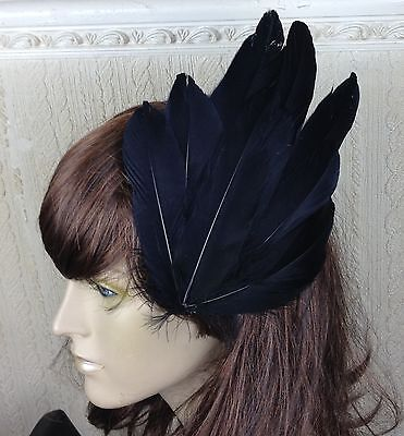 black feather fascinator millinery hair clip wedding piece ascot race party