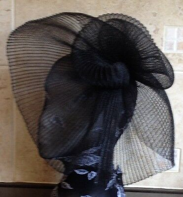 black fascinator millinery burlesque wedding hat hair piece ascot race bridal 1