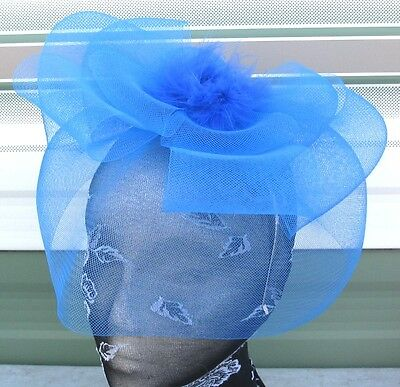 blue feather fascinator millinery burlesque headband wedding hat race ascot 1