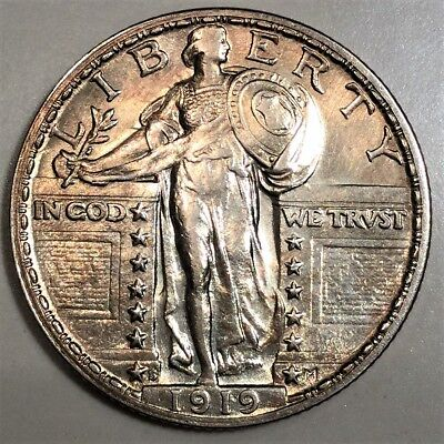 1919-S Standing Liberty Quarter Beautiful AU/BU Coin Rare Date