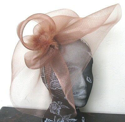 brown tan feather fascinator millinery burlesque headband wedding hat hair piece