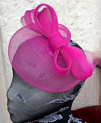 bright pink fascinator millinery burlesque wedding hat ascot race bridal party 1