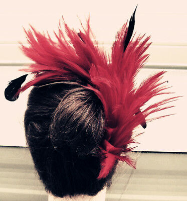 dark red feather comb fascinator millinery wedding hat bridal party race ascot