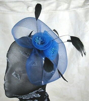 blue feather headband fascinator millinery wedding ascot hat hair piece 1