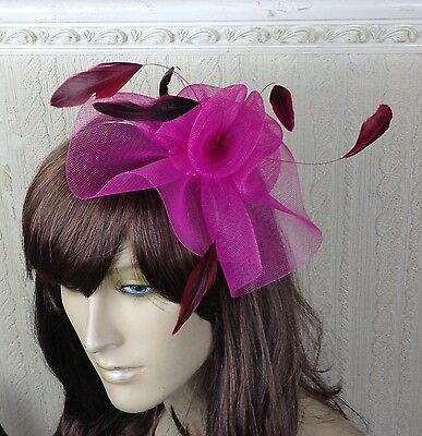 cerise pink feather hair headband fascinator millinery wedding hat ascot race 1