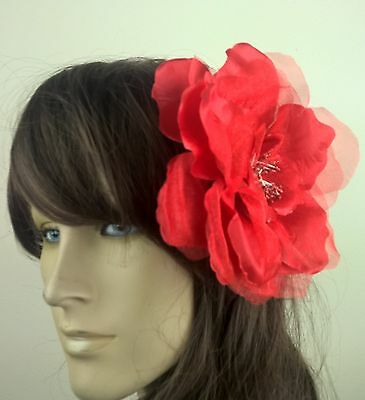 bright red satin flower fascinator millinery burlesque wedding hat bridal race