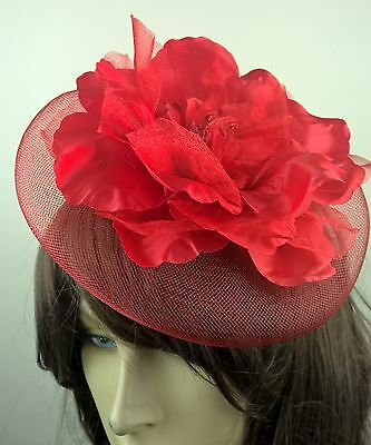 bright red satin flower fascinator millinery burlesque wedding hat bridal race 1
