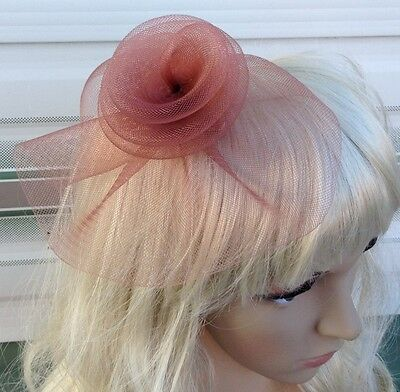 brown tan fascinator millinery feather brooch clip wedding hat bridal ascot race
