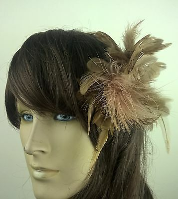 brown feather flower fascinator millinery hair clip wedding piece ascot race 1