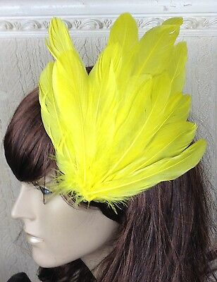 bright yellow feather fascinator millinery hair clip wedding piece ascot race 1