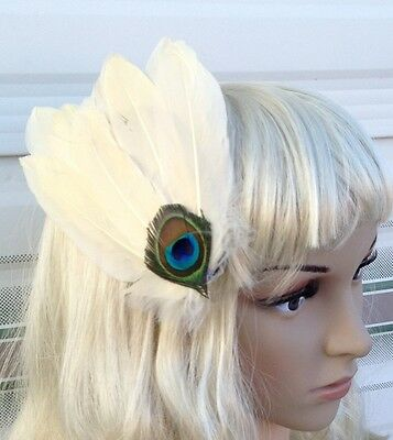 cream ivory fascinator millinery peacock feather hair clip wedding piece ascot