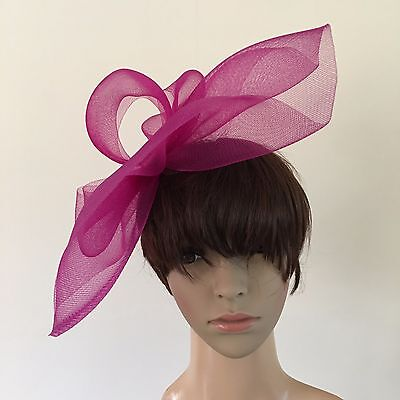 dark pink plum purple fascinator millinery burlesque wedding hat ascot bridal