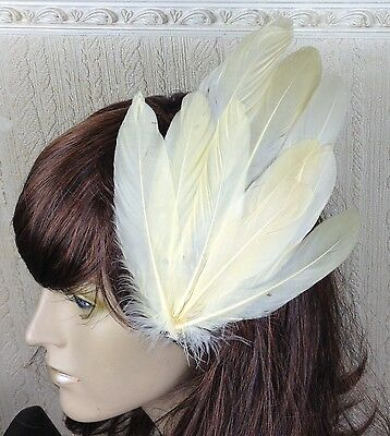 cream ivory feather fascinator millinery hair clip wedding piece ascot race
