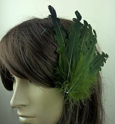 green feather fascinator millinery hair clip wedding piece ascot race dance x