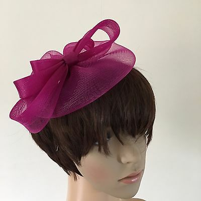 dark pink plum purple fascinator millinery burlesque wedding hat ascot bridal x