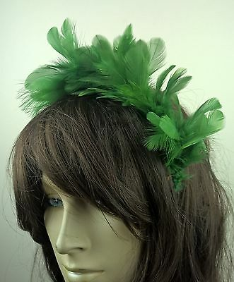 green feather headband fascinator hair band wedding bridal race party ascot