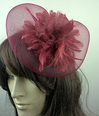 dark red feather fascinator millinery burlesque wedding hat bridal race ascot 1