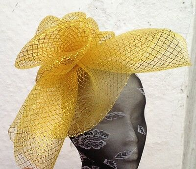 gold fascinator millinery burlesque wedding hat hair piece ascot race bridal 1