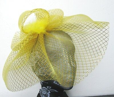 gold feather fascinator millinery burlesque headband wedding hat hair piece x