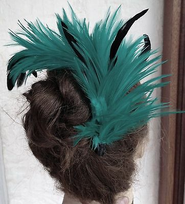 green feather comb fascinator millinery bridal wedding hat hair piece race