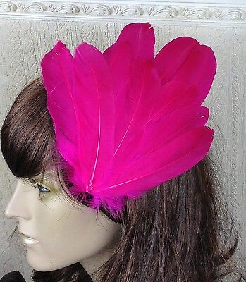hot pink feather fascinator millinery hair clip wedding piece ascot race dance