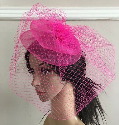 hot pink french veil veiling fascinator wedding bridal hair clip hat race ascot