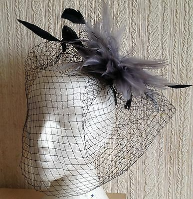 grey feather black veiling fascinator millinery brooch clip ascot wedding bridal