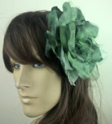 green satin flower fascinator millinery burlesque wedding hat bridal race